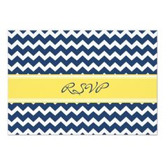 Lemon Blue Chevron RSVP Wedding Card