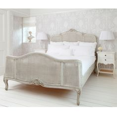 NEW! French Grey Painted Rattan Bed  |  French Beds  |  Beds & Mattresses  |  French Bedroom Company