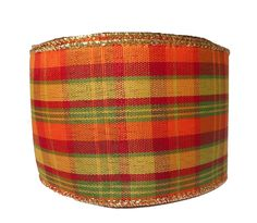 2.5 Fall Plaid Wired Ribbon 10 yards C150162 by CustomWreathDecor