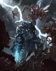 The King Arthas against The Swarm of Kerrigan by MorkarDFC Daily Heros of the Storm Art Board ^^ // Blizzard // World Of Warcraft // Overwatch //Starcraft // Diablo // Geek Hanamura Showdown - Dmitry Prozorov Fantasy Character Design, Character Art, Death Knight, Undead Knight, Arthas Menethil, World Of Warcraft Wallpaper, Lich King, Warcraft Art, Heroes Of The Storm