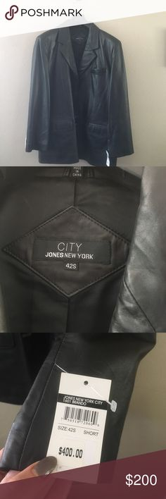 Leather Blazer New with tags! Men's black leather Blazer. Size 42S made by City Jones New York. Buttery soft to the touch. Jones New York Suits & Blazers Sport Coats & Blazers