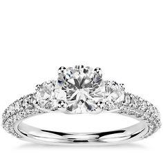Monique Lhuillier Three-Stone Trio Micropavé Diamond Engagement Ring in Platinum (1 ct. tw.)