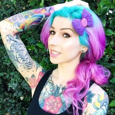 turquoise blue and purple hair, so gorgeous