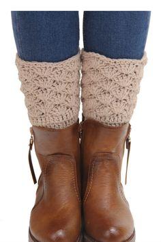 Vintage Beige Crochet Boot Cuffs