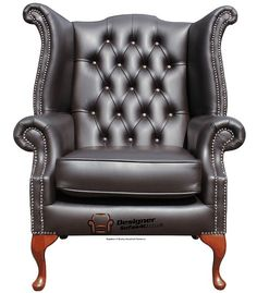 Chesterfield Queen Anne High Back Wing Chair UK Manufactured Havannah Brown, Traditional Sofas