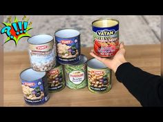 KONSERVE TENEKE KUTULARI İLE 3 FARKLI GERİ DÖNÜŞÜM FİKRİ - YouTube Recycled Tin Cans, Recycled Crafts, Aluminum Cans, Chicken Spaghetti Squash, Grilled Tomatoes, Energy Snacks, Creamy Chicken, Hacks Diy, Diy Garden Decor