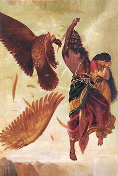 Jatayu Vadham - Sita Horrified Seeing Ravana Cutting Jatayu's Wing (Reprint on Paper - Unframed))