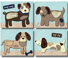 Show Doggies Puppy Dog nursery bedding artwork decor PRINTS for baby boy kid   eBay
