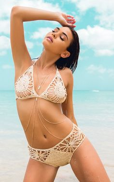 Maddy Beige Crochet Bikini Image 1