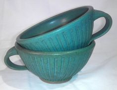 Green Stoneware Pottery Soup Bowls with by GwenFryarPottery