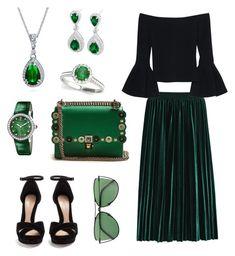 """Emerald"" by jessica-trisanti on Polyvore featuring Alexis, Allurez, Bling Jewelry, Bulgari, Alexander McQueen, Sener Besim and Fendi"
