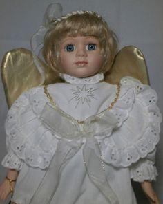 Angel-Doll-Porcelain-White-Dress-Golden-Wings-Blonde-Hair-Blue-Eyes-15-Tall