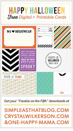 FREE Printable Halloween Journaling + Filler Cards; #ProjectLife #freebie
