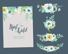 Mint & Gold. Watercolor floral Bouquets and by OctopusArtis