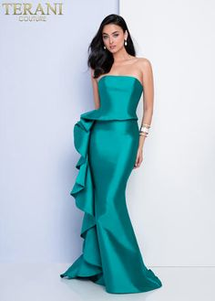 Terani Couture modern strapless mikado gown with ruffle details on the side seam. Sexy Wedding Dresses, Cheap Wedding Dress, Designer Wedding Dresses, Strapless Dress Formal, Wedding Pantsuit, Best Evening Dresses, Mermaid Evening Dresses, Evening Gowns, Ball Dresses