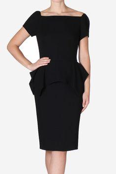 Carla Zampatti | Raven Crepe Parisian Peplum Dress