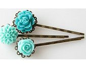 aqua hair pins bobby pins, flower hairpins, flower hair accessories, flower bobby pin set, mint green teal rose dahlia