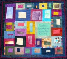 Quilted Art Wall Hanging Teach Us To Number Our by juliebagamary, $450.00