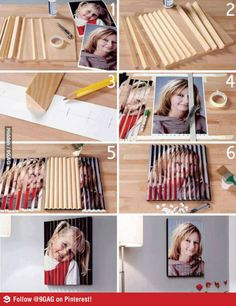 DIY Lenticular-like Wall Art - Agamograph using wood Foto 3d, Diy Foto, Support Photo, 3d Picture Frame, Nice Picture, Cadre Diy, Fun Crafts, Diy And Crafts, Do It Yourself Fashion