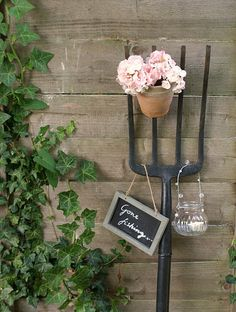 garden fork :-) LOVE! Especially for a small courtyard or balcony. It's a bit like a vertical garden but cheaper and easier.