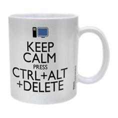Keep Calm Ctrl Alt Delete. Mug geek Keep Calm, Deco, Geek Stuff, Mugs, Tableware, Moment, Amazon, I Messed Up, Ceramic Boxes