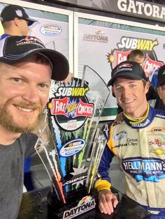 7-4-14 Dale with Kasey Kahne in victory lane after Nationwide race