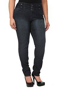 Super Curvy High Waist Skinny Jeans   Hematite button tab accents and a three-button and zip fly punctuate the high waist of these super curvy skinny jeans. Shaped through the hips for a gape-free fit that really flatters the figure.