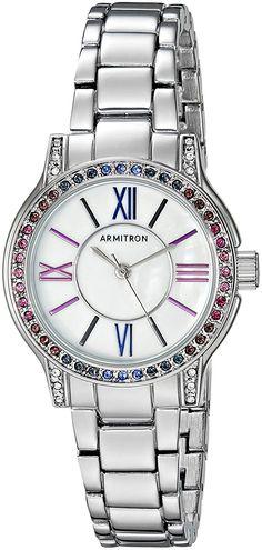 Armitron Women's 75/5371MPSVBL Multi-Color Swarovski Crystal Accented Silver-Tone Bracelet Watch ** Click image to review more details.