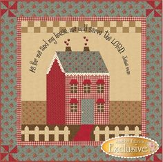 """As For Me & My House Pattern: Pinwheels and a red, white, and cream color palette give this wallhanging an Americana feel. The verse """"As for me and my house, we will serve the LORD. - Joshua 24:15"""" is prominently embroidered above the house. Finishing to 41"""" x 41"""", this wallhanging complements our Little Garden House series. This is the pattern; the full kit is also available."""
