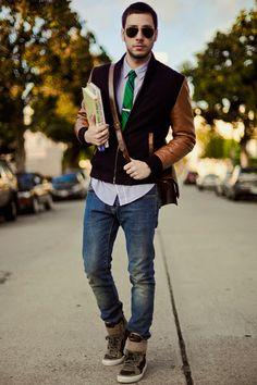 love the mix of textures - denim, leather & hightops with dress shirt, narrow neckwear & tie bar. Bravo!