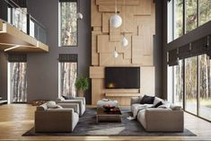 Buro 108 Designs creates a chic interior design of a residence in Moscow Architects: Buro 108 Location: Moscow, Russia Year: 2016 Photo courtesy: Buro 108 Thank you for reading this article! Timber Feature Wall, Tv Feature Wall, Feature Wall Living Room, Tv Wall Design, Fireplace Design, Fireplace Wall, Living Room Interior, Hall Interior, Luxury Living