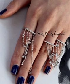 Sterling Silver Fringe Ring with Long Chains Connected to Rings. Elegant Women's Rings, Two Finger Ring
