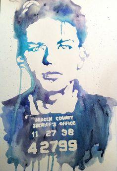 Frank Sinatra mug shot watercolor poster print