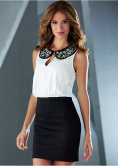 festliches Kleid lila/weiss Shirtkleid Kragen Perlenbesatz NEU: Amazon.de: Bekleidung