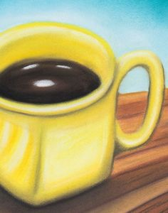 Buy Yellow Coffee Cup, Pastel drawing by Mark Hennick on Artfinder. Discover…
