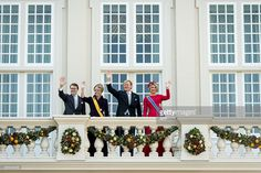 Prince Constantijn, Princess Laurentien, King Willem-Alexander and Queen Maxima wave from Palace Noordeinde, on September 16, 2014 in The Hague during Prinsjesdag, the opening-day of Dutch parliament, taking place every year on the third Tuesday of September.