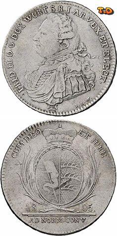 N♡T. Württemberg Friedrich II./I. 1797-1806-1816  1/2 Konventionstaler 1805. Stempel von J.L. Wagner. KR 17, Ebner 51, AKS 19. sehr schön