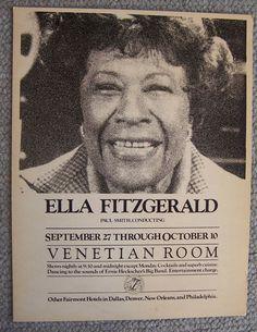 1970's ELLA FITZGERALD concert poster The Venetian Room SAN FRANCISCO Paul Smith