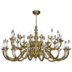 Large Dutch, Baroque Style, Thirty-Two Light Brass Chandelier | From a unique collection of antique and modern chandeliers and pendants  at https://www.1stdibs.com/furniture/lighting/chandeliers-pendant-lights/
