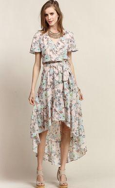 At First Blush Floral Hi-Low Maxi Dress