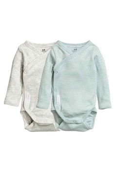 Lot de 2 bodies croisés - Vert menthe/rayé - ENFANT | H&M FR 1