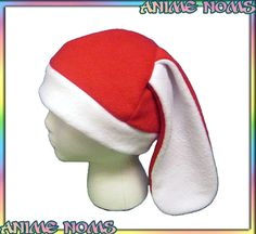 Santa Bunny Hat White Red Holiday Christmas Rabbit by AnimeNoms