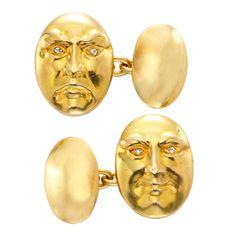 Pair of Antique Gold and Diamond Cufflinks, c. 1900