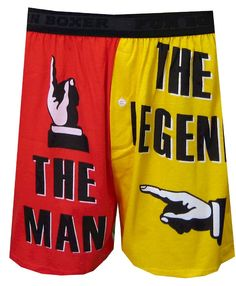 The Man The Legend Red/Yellow Boxer Shorts for men (Small)