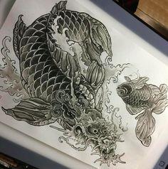 Koi Dragon Tattoo, Dragon Fish, Koi Fish Tattoo, Japan Tattoo, Human Heart, Tattoo Stencils, Irezumi, Art Inspo, Animals And Pets