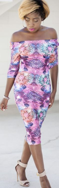Pink Multi Abstract Print Bodycon Off Shoulder Midi Dress