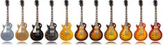 LIneup of 2012 Les Paul finishes for Lefties