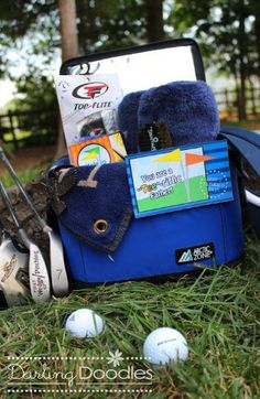 golfer's gift basket for bday/xmas/father's day