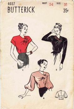 Butterick 4037; ca. 1947; Softly sophisticated blouse - One sided V-neckline with gathers...