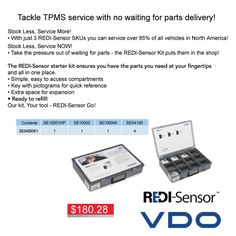 We have REDI-Sensor starter kit's for only $180.28 ea until March 31, 2016.  Now you can stock less and service more!  #redi #vdo #redisensorkit #tpms #aadiscountauto #hamilton #autoparts #sale #deal #hamiltonautoparts #autopartsstore